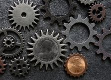 Quarter and penny gears. Quarter and penny coin money gears Royalty Free Stock Photo