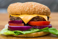 Quarter Pound Hamburger or Beefburger in a Sesame Bread Bun royalty free stock image