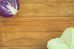 Quarter section of purple and green round cabbage Royalty Free Stock Photo