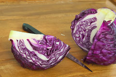 Quarter section of purple round cabbage Royalty Free Stock Photo