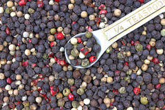 Quarter Teaspoon Whole Peppercorns Royalty Free Stock Photography