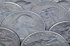 Quarter US cent coins Stock Images