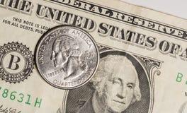 Quarter on US Dollar Bill Stock Images