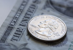 Quarter on US Dollar Bill Stock Photos
