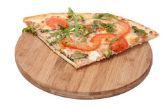 QUARTER VEGETARIAN RUCOLA PIZZA WOODEN BOARD Royalty Free Stock Image