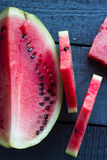 Quarter of watermelon and juicy. Sweet slices Royalty Free Stock Images