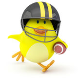 Quarterback. Little american football player chick on white - 3D render Royalty Free Stock Photography