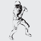Quarterback. American football player with the ball. Vector drawing Stock Photography