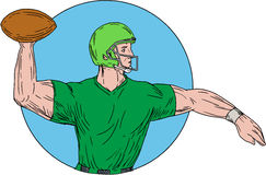 Quarterback QB Throwing Ball Circle Drawing. Drawing sketch style illustration of an american football gridiron quarterback player arms stretched throwing ball Stock Images