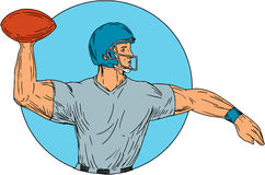 Quarterback QB Throwing Ball Motion Circle Drawing. Drawing sketch style illustration of an american football gridiron quarterback player arms stretched throwing Royalty Free Stock Images
