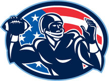 Quarterback QB Throwing Ball Retro. Illustration of an american football gridiron quarterback QB player throwing ball facing side set inside oval with USA stars Stock Photos