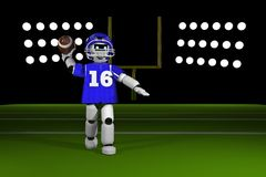 Quarterback robot throwing a football on the field Royalty Free Stock Photos