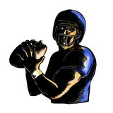 Quarterback Throw Ball Scratchboard Royalty Free Stock Image