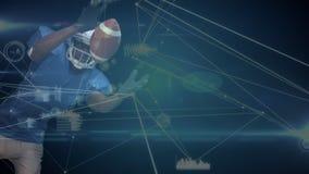Quarterbacktauchen, zum des Balls mit einem blauen Hintergrund und Daten zu fangen angeschlossen auf dem Vordergrund vektor abbildung