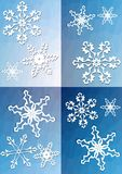 Quartered winter background with snowflakes Quadrat Stock Photography
