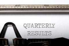 Quarterly results Stock Image