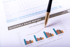 Quarterly sales report Stock Photography