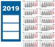 Quarterly wall Calendar for 2019 grid template horizontal. Vector illustration stock illustration