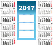 Quarterly Wall Calendar for 2017. Template grid vector illustration Stock Photography