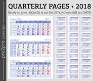 Quarterly wzywa 2018 rok przygotowywających drukować CMYK set Zdjęcia Stock
