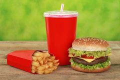 Quarterpounder meal with french fries and cola Royalty Free Stock Photos