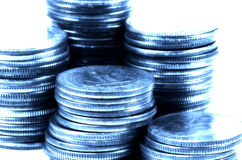 Quarters 3. Photo of Quarters With Cyan Tone and Blur royalty free stock photography