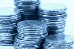 Quarters 4. Photo of Quarters In Cyan Tone royalty free stock image