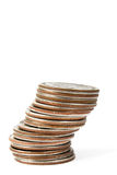 Quarters. Stack of US quarters before white background, shallow depth of field Stock Photo