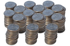 Quarters. Stacks of quarters Royalty Free Stock Images