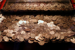 Quarters Game. Arcade game with piles of quarters Royalty Free Stock Photo