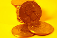Quarters in Gold Tone. Quarters With Gold Tone Royalty Free Stock Images