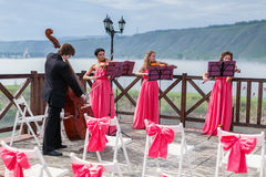 Quartet of classical musicians playing at a weddin Royalty Free Stock Photography