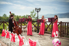 Quartet of classical musicians playing at a weddin Royalty Free Stock Images