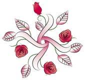 Quartet flowers tattoo. Illustration of a quartet flowers tattoo on isolated white background Royalty Free Stock Photos