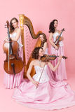 Quartet with harp, cello and violins. String quartet with harp, cello and violins Royalty Free Stock Images