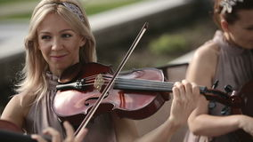 Quartet musical Jeux de violoniste contre le ciel Tir moyen clips vidéos