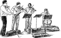 Quartet of street musicians Royalty Free Stock Photography