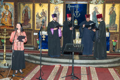Quartet of Ukrainian priests performing at the festival of Orthodox music in Pomorie, Bulgaria. Pomorie - famous resort town in Bulgaria. In summer it is a royalty free stock image