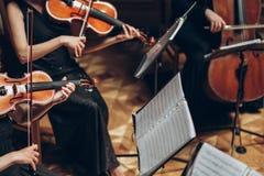 Quarteto de cordas elegante que joga na sala luxuosa no recepti do casamento imagens de stock
