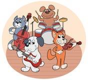 Quartett von den Tieren, die Musik spielen lizenzfreie stockfotos