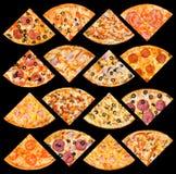 Quarti della pizza impostati, isolato Fotografia Stock