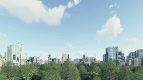 Quartier de la ville moderne avec la zone verte 4K de parc banque de vidéos