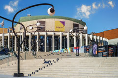 Quartier des spectacles. With a history stretching back more than 100 years, the Quartier des spectacles neighbourhood has always been a popular cultural and Royalty Free Stock Image