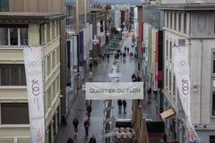 Quartier du Flon shopping street in Lausanne Royalty Free Stock Photography