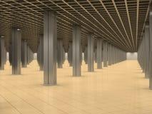 Quarto abstrato com colunas do metal e o assoalho telhado Fotografia de Stock