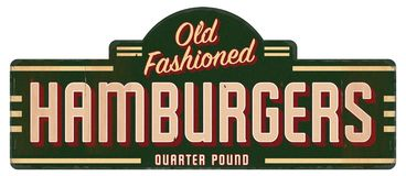 Quarto antiquato Pounder del retro segno dell'hamburger fotografie stock