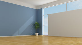 Quarto azul vazio Fotografia de Stock Royalty Free