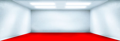 Quarto branco com assoalho vermelho ilustração stock