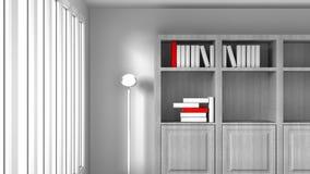 Quarto branco com livros Fotos de Stock Royalty Free