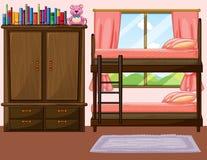Quarto com bunkbed e armário Foto de Stock Royalty Free